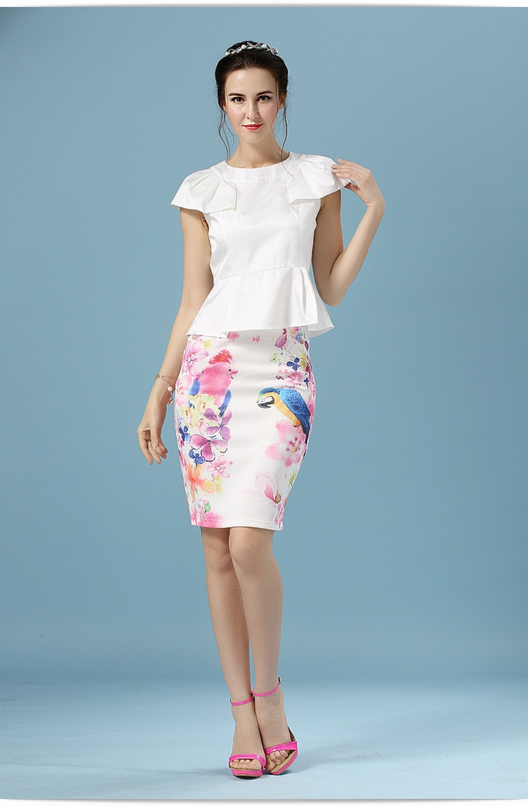 Elegant Office Pencil White Floral Bird Print High Waisted Skirt 10