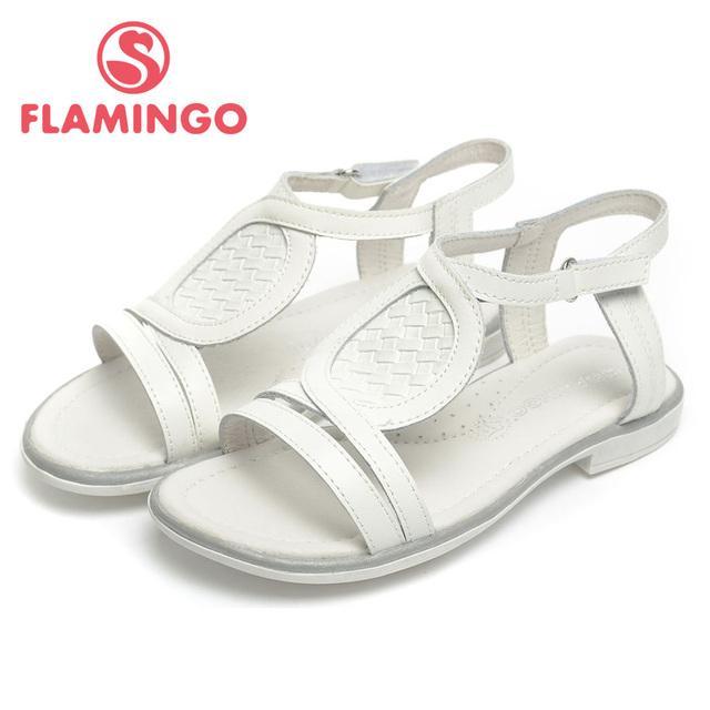 QS4743 FLAMINGO NIÑOS ZAPATOS sandalias de cuero genuino de la alta calidad