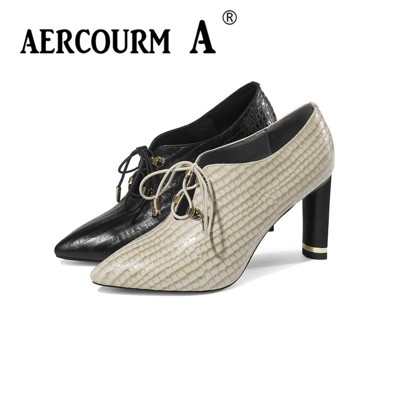 de312615d5727 Aercourm A 2019 Female Croc Cow Leather Shoes Girls Autumn Lace Office  Shoes High Heel Women Metal Buckle Pumps Shoes Size 34 43-in Women s Pumps  from Shoes ...