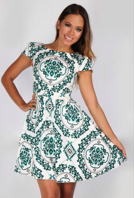 Mini Dress Boho Elegant Bohemian Beach Dress Short Vestido Curto Green Beach Tunic Floral Ladies 2018 Sundress Female Summer In Dresses From Womens