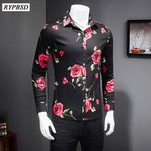 3208181af629d 2018 جديد الرجال القمصان عارضة فلورا جودة يتأهل الرجال قميص طويل الأكمام  الأعمال الرسمي عالية المستوردة