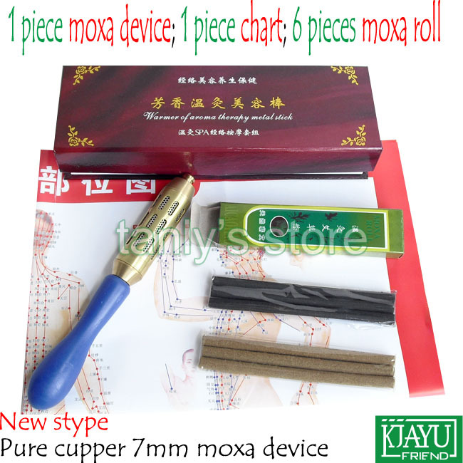 New style Pure Copper middle Size Face & Body Moxibustion Device Moxa cone beauty face tool (use 7mm moxa roll) pure cupper big size body moxibustion device moxa cone health beauty face tool 9pieces set 45 1 moxa roll
