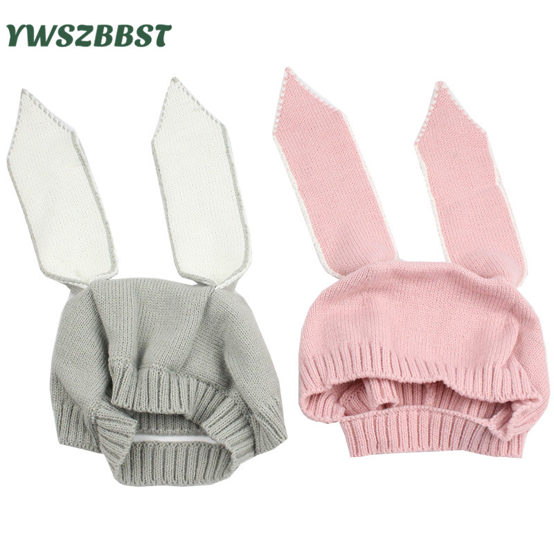Autumn Winter Baby Hat Toddler Infant Knitted Baby Cap Cute Rabbit Long Ear Hat Kids Bunny Beanie Cap Photo Props