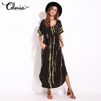 Boho Tie Dye Print Dresses Summer Women Split Sexy Loose Long Shirt Dress Short Sleeve V