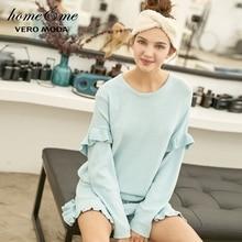 Vero Moda yeni Ruffled örgü ev tekstili seti pijama takım