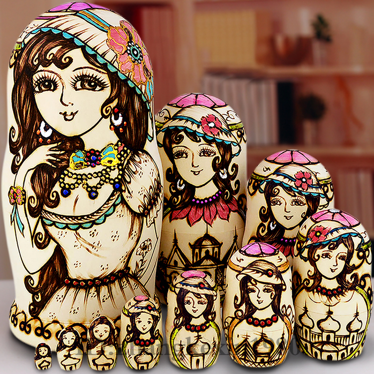 Tasteless high cold linden wood Russian nesting doll 10 floo