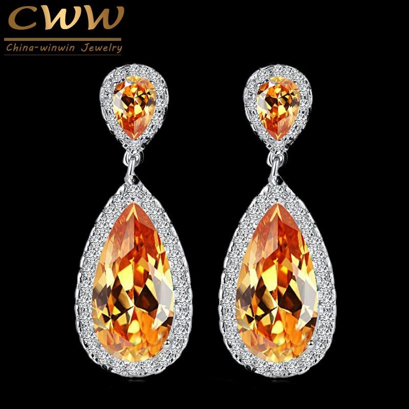 CWWZircons 7 Warna Klasik Water Drop Desain Warna Silver Champagne - Perhiasan fashion
