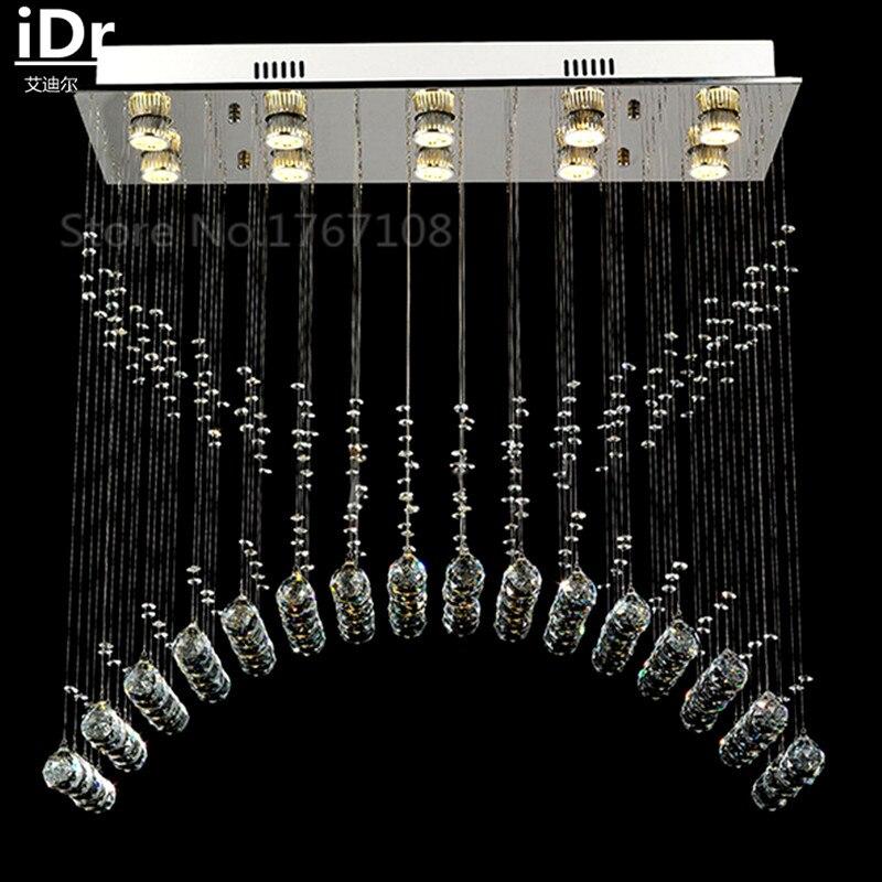 Личность Простой прямоугольный бар ресторан столовая спальня LED Хрустальные люстры висит линия лампа с вилла idr 0063