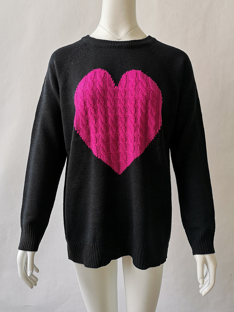 Search For Flights 2 Color (2pcs For Pack) Knitwear Heart Sweater For Women