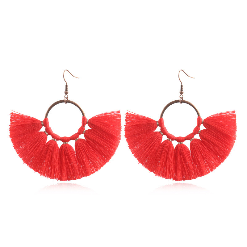 Exknl Long Vintage Fringed Drop Tassel Earrings Women Bohemian Round Big Earrings Ethnic Party Dangle Earrings Fashion Jewelry 10
