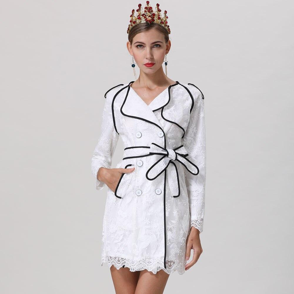 Rot RoosaRosee Neue Elegante Blume Stickerei Handgelenk Ärmel Zweireiher Weiß Kleid 2019 Designer Frauen Frühling Sommer Vestidos-in Kleider aus Damenbekleidung bei  Gruppe 2