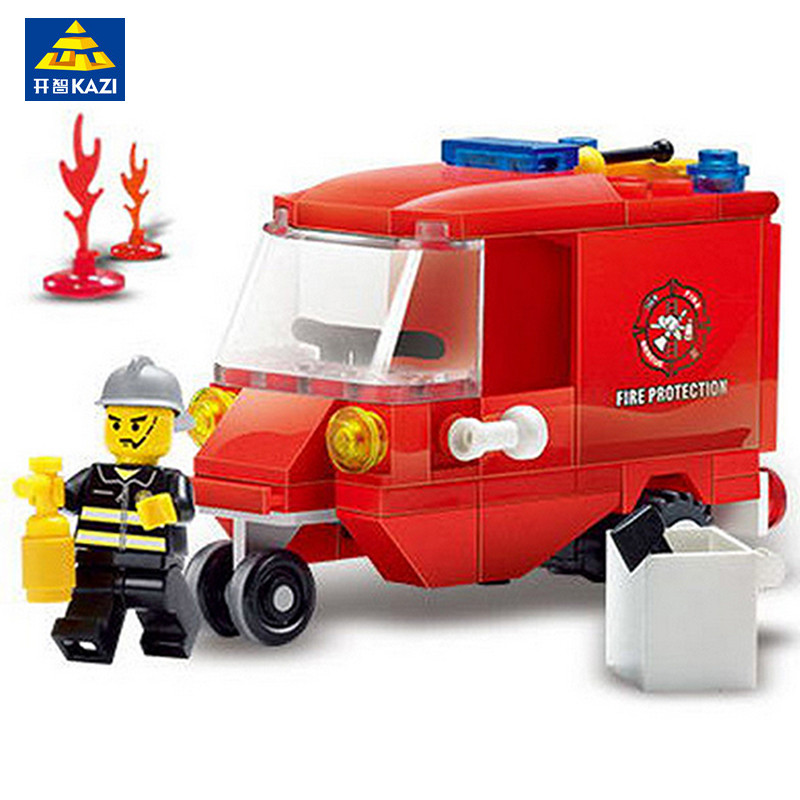 KAZI Fire Protection Vehicl Model Building Blocks Brinquedos Educational Toys Intelligence Bricks Toys for Children