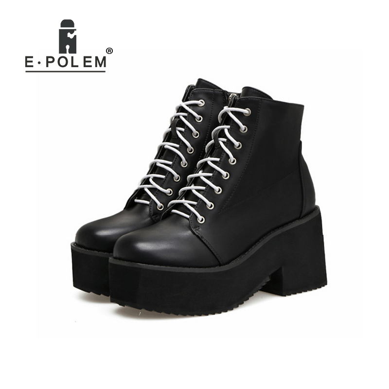 Thick Soles High Heel Women Boots Punk Round Toe Lace-Up Ankle Boots Harajuku Zipper Martin Boots Genuine Leather Booties 2017 embellished sweety girl love pink peach women martin boots short shoe ankle lace up crystal sequins flat round toe shoe