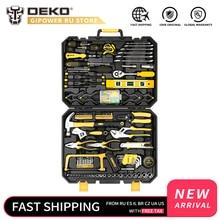 Домашний набор инструментов DEKO, общий ручной набор инструментов с пластиковым ящиком для инструментов, кейс для хранения, комбинированный молоток, гаечный ключ, отвертка