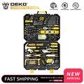 Домашний набор инструментов DEKO, общий ручной набор инструментов с пластиковым ящиком для инструментов, кейс для хранения, комбинированный ...