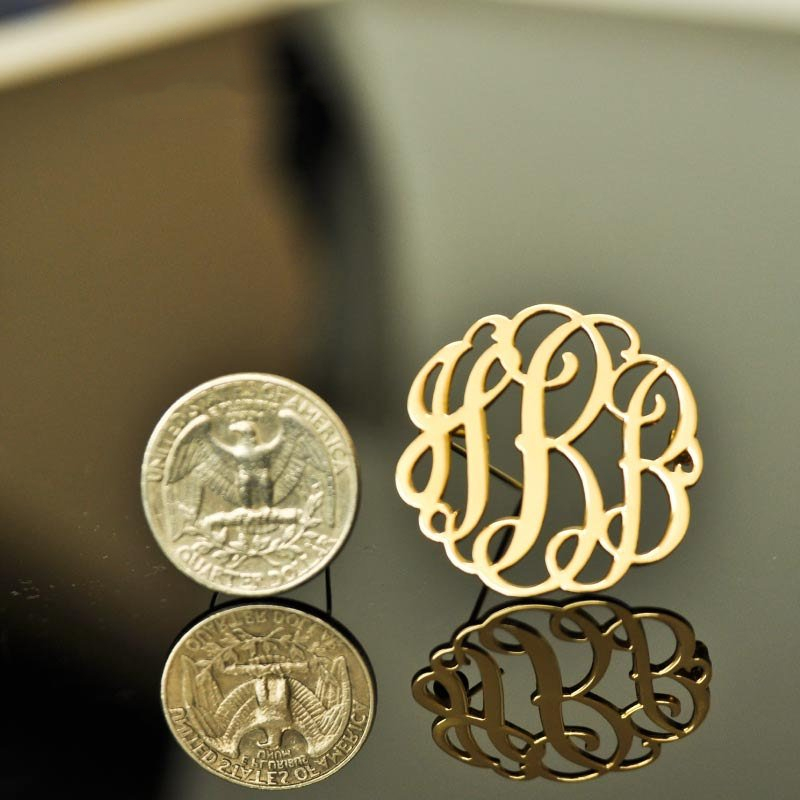 Broches Pinos Do Monograma Nome personalizado Personalizado Prata Rosa de Ouro Aço Inoxidável Boho Iniciais Broche Jóias Presentes Da Dama de honra