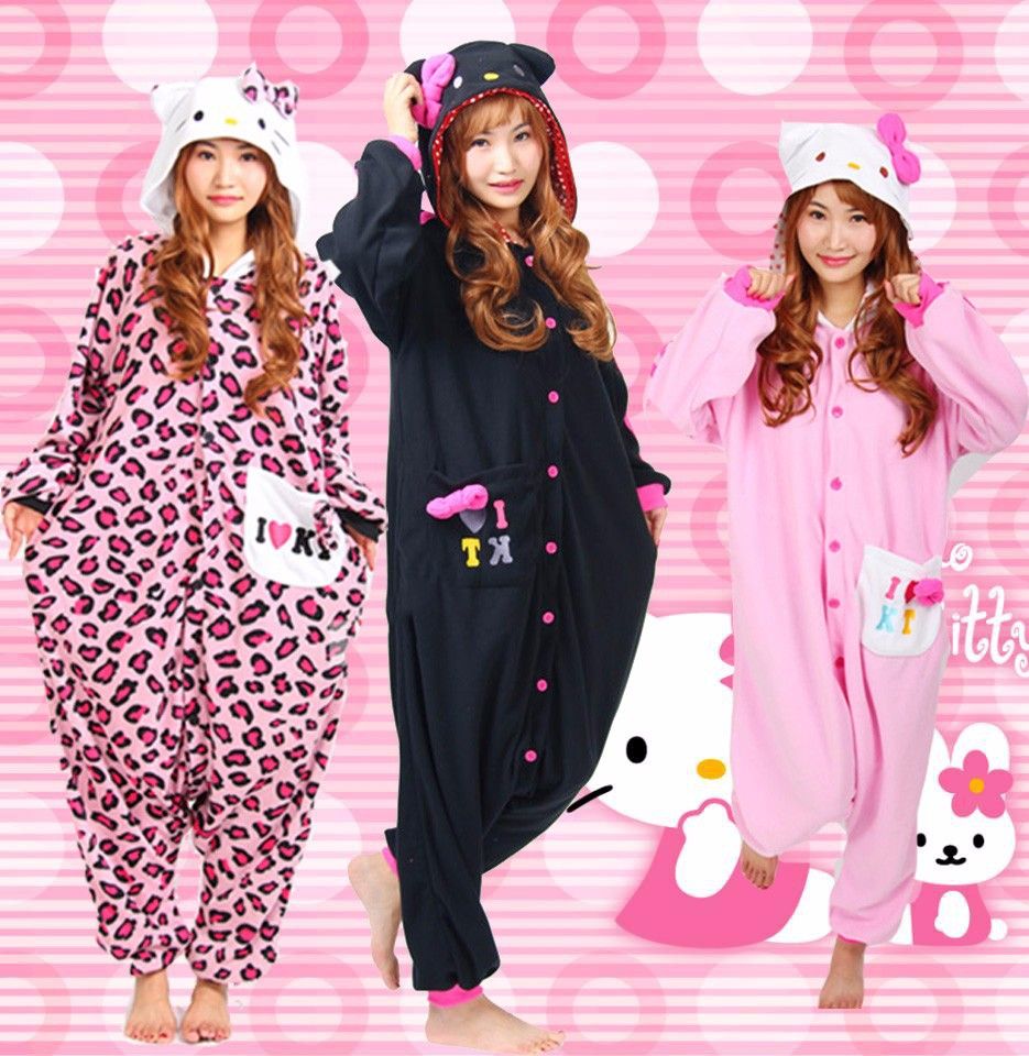 77578f46c Halloween Party Costume Kawaii Hello Kitty Cat Onesie Pajamas Costume  Unisex Adult One-piece Sleepwear Onesie Party Cosplay