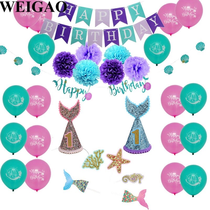 WEIGAO Glitter Happy Birthday Banner Mermaid Party Garland Bunting Banner Flags Decor Baby Shower First Birthday Party Supplies