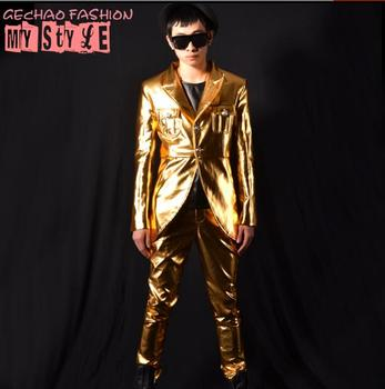 PU New fashion stage nightclub male singer DSDJ Quan Zhilong GD gold swallowtail suit set bar costume accessories