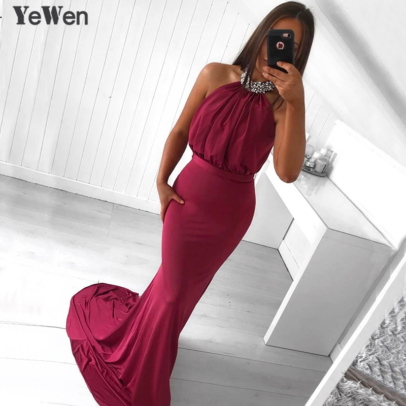 Wine Red Elegant Formal Long   Dress   Mermaid Sexy 2019 NEW Crystal Halter Fashion Sleeveless Wrap Formal Party   Evening     Dresses