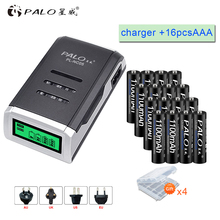 PALO 16pcs AAA rechargeable battery aaa batteria Ni-MH 1.2v batteries with LCD display charger for AA AAA ni-mh ni-cd battery palo 4pcs 3000mah ni mh 1 2v aa rechargeable batteries aa battery battery rechargeable battery with lcd display battery charger