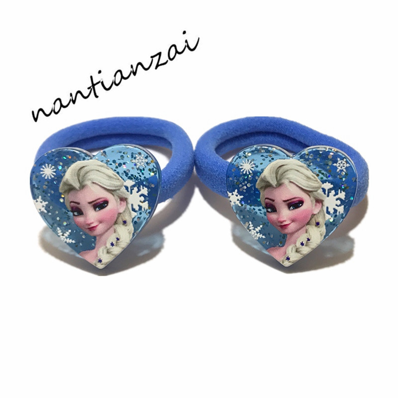 1Pair=2Pcs Girls Lovely Cartoon Hair Accessories Elsa Anna Princess Hair bands Acrylic Hair rope Hair ring Children Party Gifts(China)