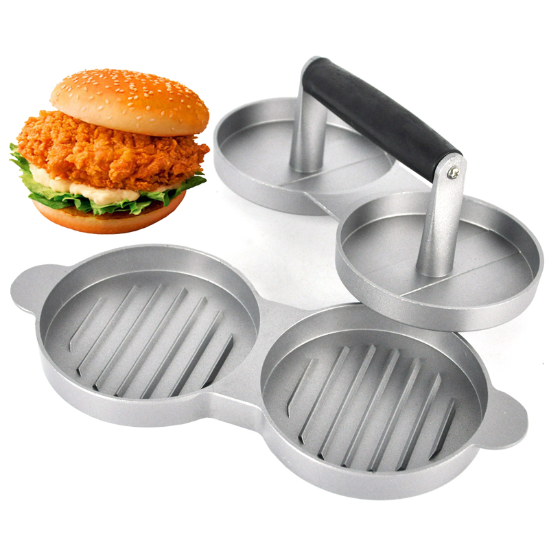 1 set Formă rotundă Presă de hamburger Aliaj de aluminiu 11 cm Hamburger Carne Vită Grătar Burger Press Patty Maker Mold