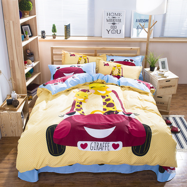 Aliexpresscom Buy Cute Giraffe Cartoon Kids Bedding Set Queen