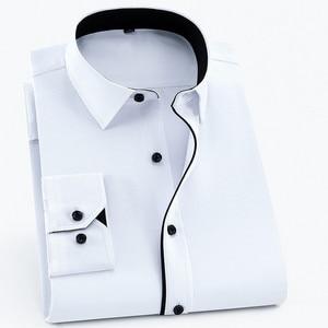 Image 2 - Camisa para hombre de talla grande 6XL, 5XL, 4XL, 3XL, moda de ocio, camisas de vestir de retales lisas, camisas de negocios de sarga para boda Social