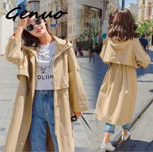 Genuo 2019 Spring New Pattern Long Fund Single Row Pull Rope Windbreaker Loose Woman Solid Color Hat