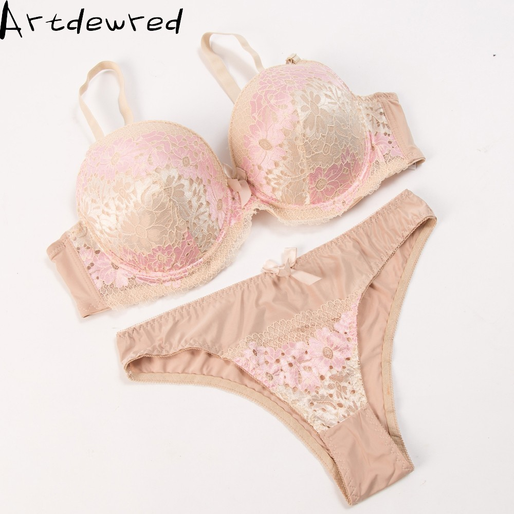 New arrival Lace Embroidery   Bra     Set   Women Plus Size Push Up Underwear   Set     Bra   and Bikini   Sets   38 40 42 44 46 CDE Cup For Female