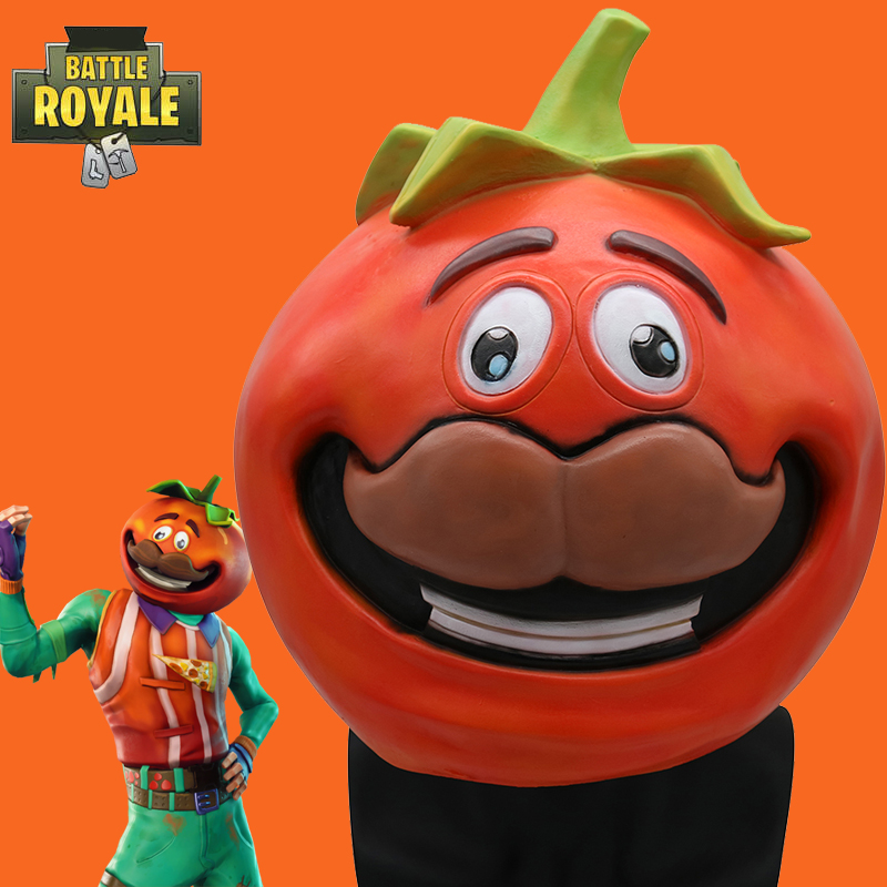 Fortniter Tomato Head Crown Mask Cosplay Fortnited Tomato Temple Tomato Head Crown Masks Adult Latex Helmet Halloween Party Prop
