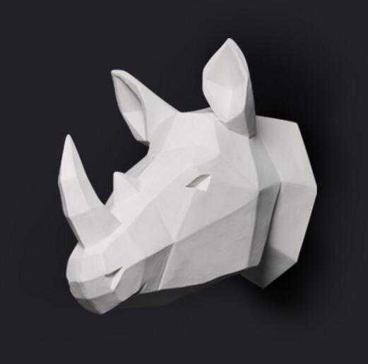 wall mounted rhinoceros head trophy wall art plaque hunt sculpture-faux taxidermy modern hanging home decor ornamnent trophy