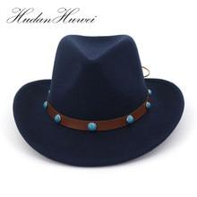 Europea ee.uu. lana normal fieltro Cowboy Cowgirl Hat Jazz Sombreros moda  mujeres Sombreros 37f9bdc3f4a