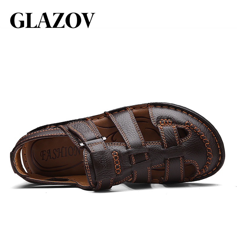 Genuine Leather Men Sandals Fretwork Breathable Fisherman Shoes Retro Gladiator Soft Bottom Summer