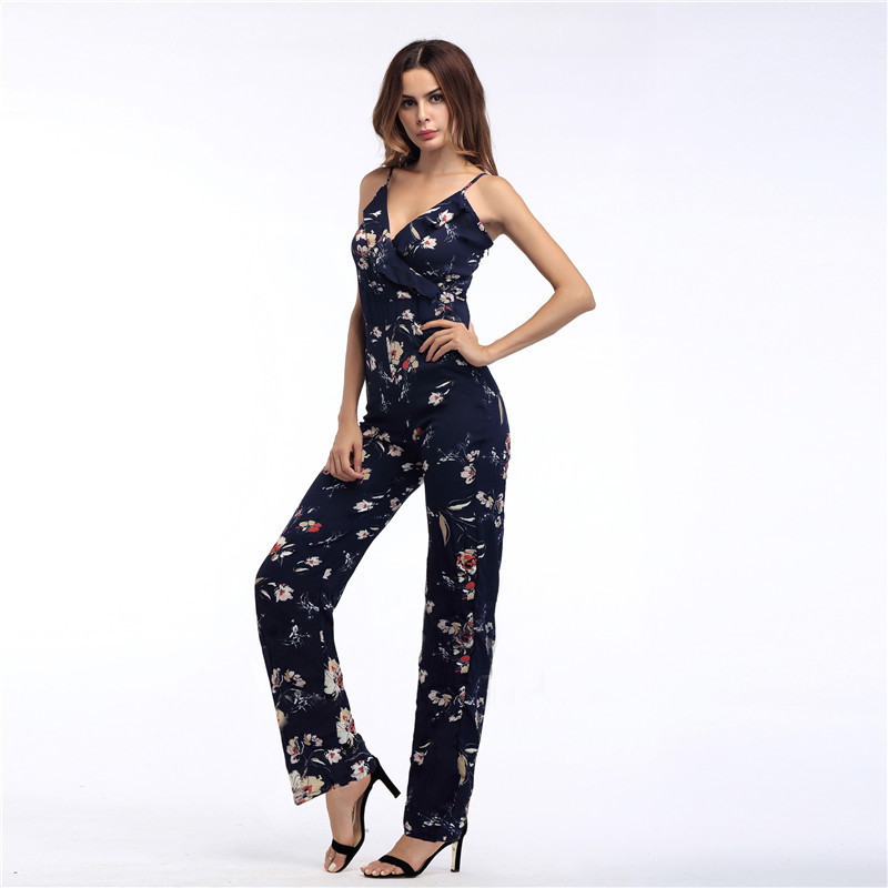 Echoine Women Jumpsuit Sexy Spaghetti Straps Pockets Sleeveless Long Wide Leg Pants Casual Romper Streetwear Fancy Woman Clothes