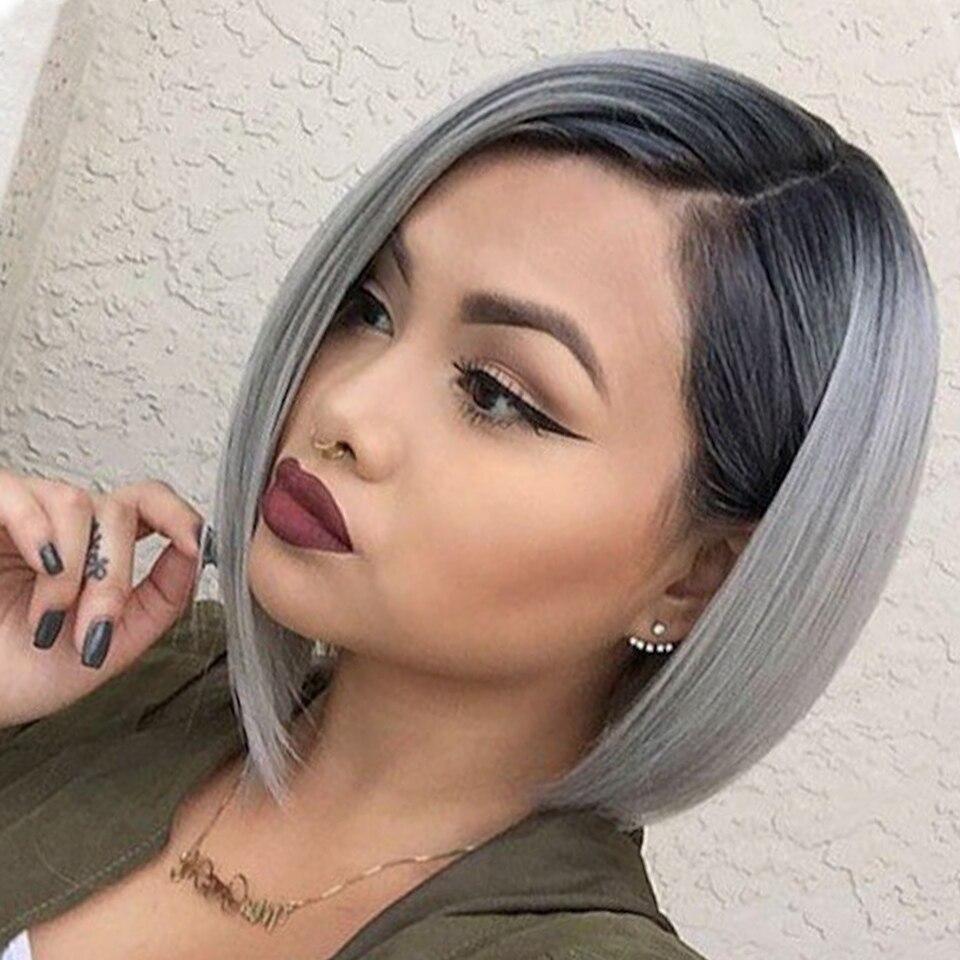 Ilaria 1B Grey Dark Root Blonde Short Lace Front Bob Human Hair Wig With Baby Hair