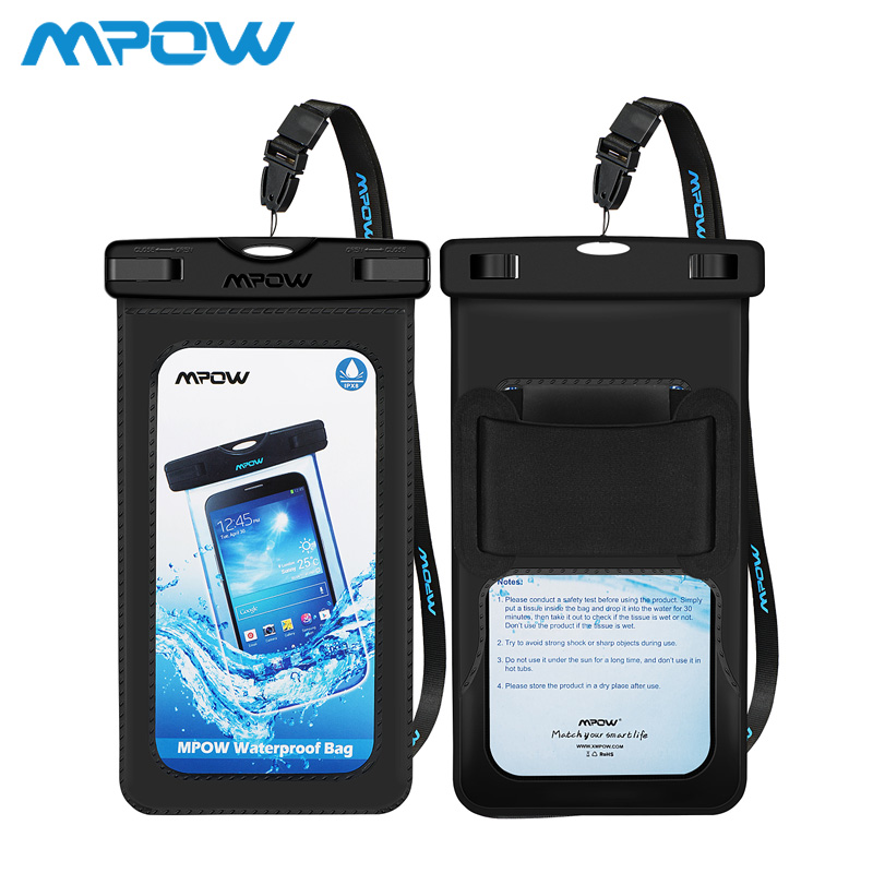 2Pcs/lot Mpow PA096 Snowproof Phone bag+Arm band 2 in 1 IPX8 PVC+ABS Waterproof Bag Case For 4-6'' Phone For iPhone XS XR 8 Plus