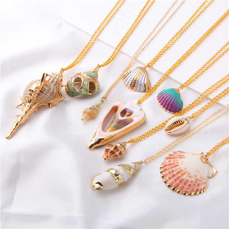 2019 Boho Conch Shell Necklace Shell Gold Shell Chain Necklace Women Seashell Choker Necklace Pendants Jewelry Bohemian Female