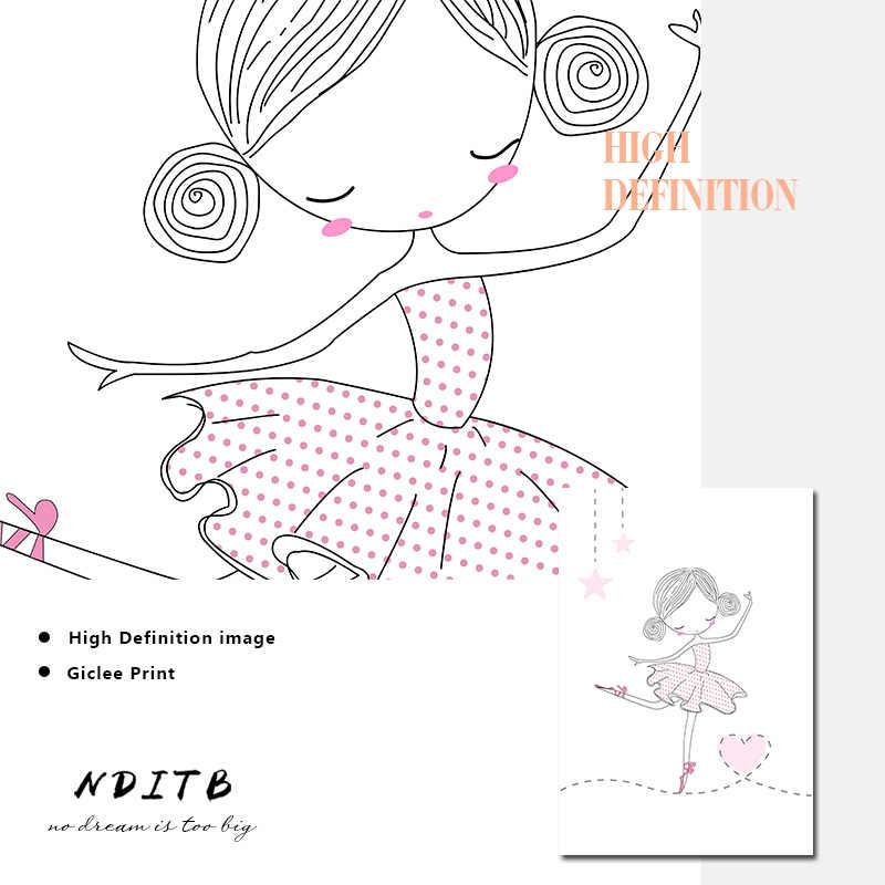 Девочка танец балет детская настенная живопись садик Холст плакат и печатная графика розовый мультфильм живопись скандинавские дети украшение картина комнаты декор