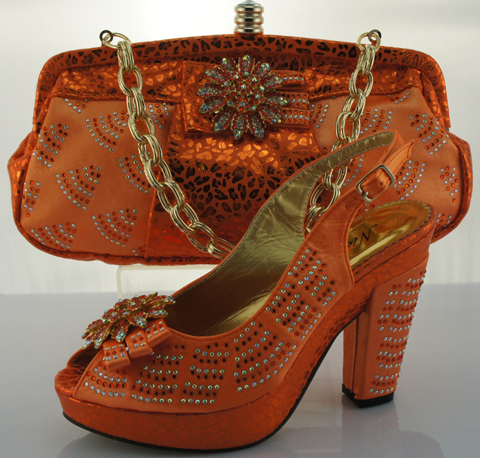 ФОТО ME2203 Orange,Newest lady Italian matching shoe and bag set for wedding and party in wholesale Size 38-42 .
