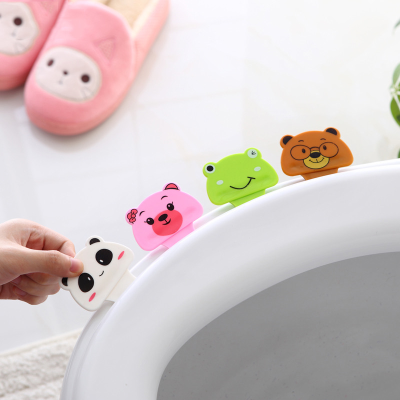 4PCS Cute Cartoon Toilet Seat Cover Lifters Bathroom Decoration Gadgets Device Home Accessory Supplies Avoid Touching Stickers