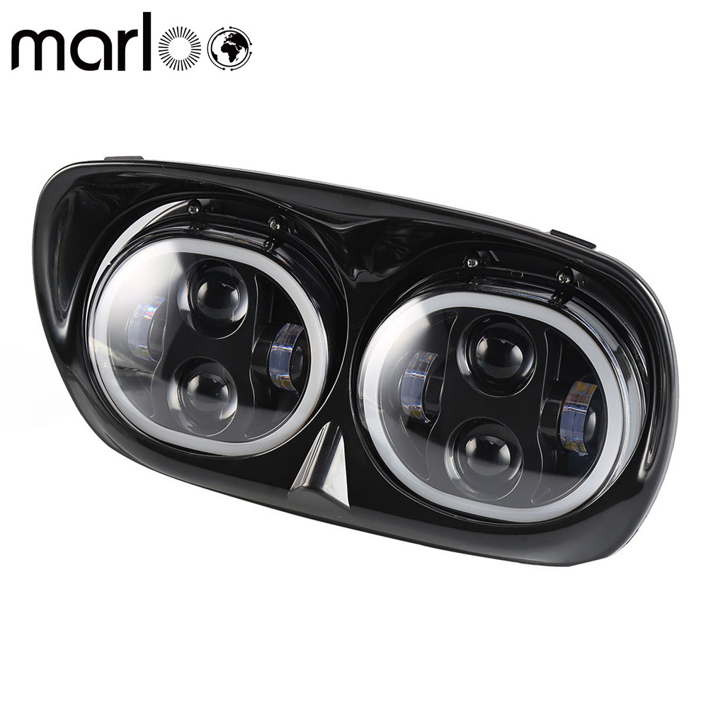Marloo Harley Accessories Harley Road Glide Headlight Led Dual Daymaker Projector Headlamp With Full Halo For Harley Davidson