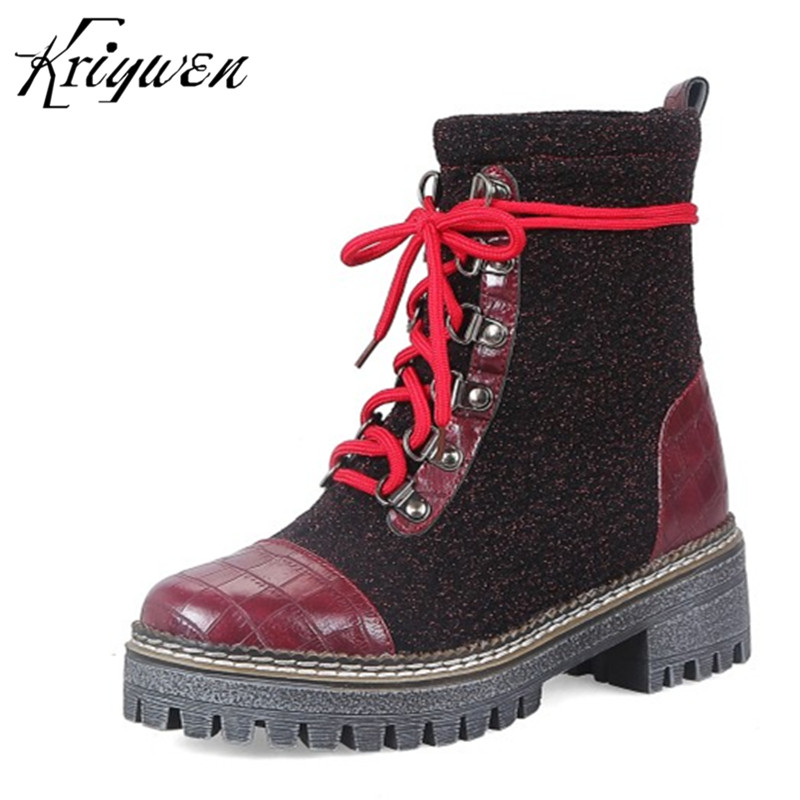 2018 Winter Women Motorcycle Boots Cross-tied Cool Ladies Casual Martin boots bottes Round Toe Woman Shoes d hiver pour femmes