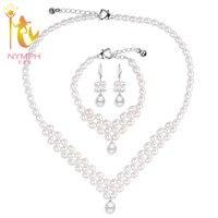 [Нимфа] комплект свадебных ювелирных изделий из жемчуга ювелирные изделия из натурального пресноводного жемчуга ожерелье браслет изысканн...