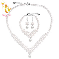 NYMPH Genuine Natural Pearl Necklaces Wedding Jewelry Sets For Bridal Aaa Nice Qulity