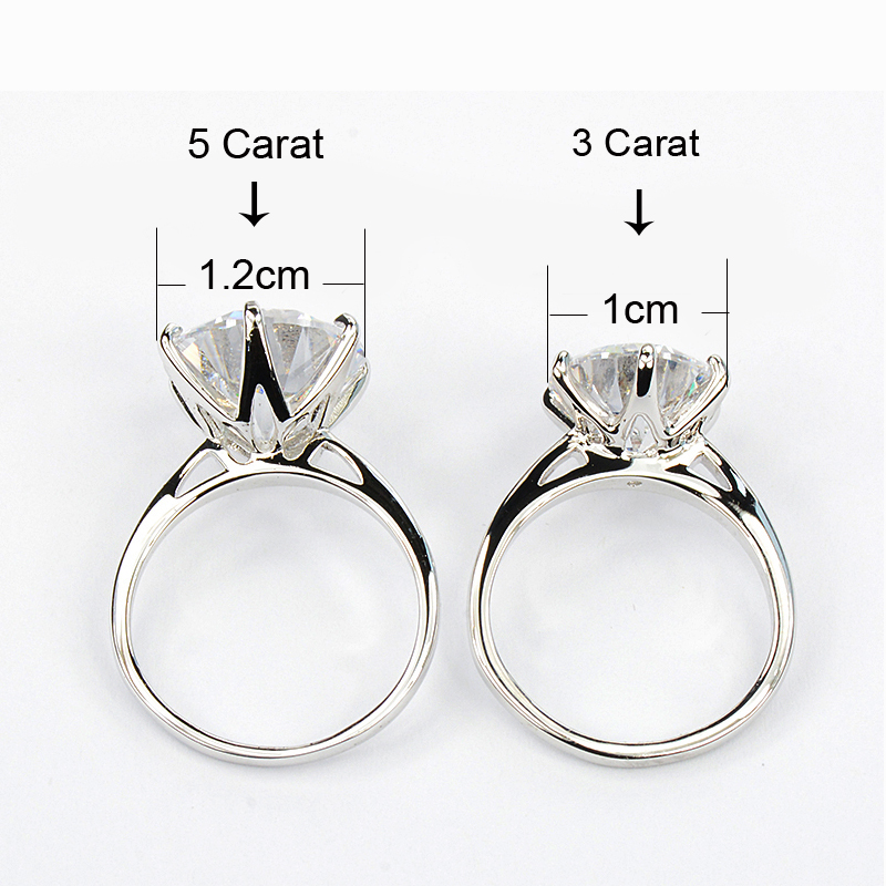 MOONROCY Silver Color Cubic Zirconia Crystal Promise Wedding Rings for Women 5 Carat Bride Accessories Jewelry Dropshipping 6