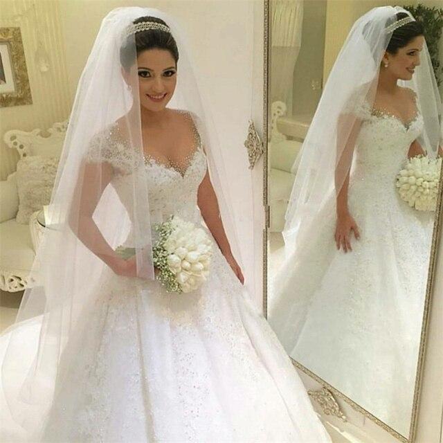 Cap Mangas Do Vestido de Casamento vestido de Baile Vestido De Noiva Princesa Brilhante Frisado Apliques de Trem Tribunal Vestido de Noiva Robe De Mariee 2018