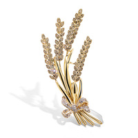 X1129 Fashion Retro Wheat Spike Brooch Simple Zircon Lapel Pins Brooches for Men Women Jewelry Luxury Classic Accessories