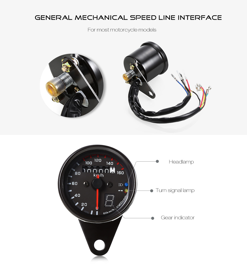 Jh 888 12v Universal Motorcycle Car Odometer Speedometer Gauge With Two Color Led Backlight For Head Neutral Turn Light In Instruments From Equipment Indicator Using Comes Highlight Night Lights Perfect Use Fits All Motorcycles Shape Circle Voltage
